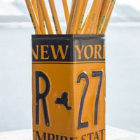 New York License Plate Pencil Holder - Pencil Cup - Unique Pencil Cup - Desk Accessories - Office Decor - Pen Cup - Pen Holder - State Art
