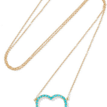Jennifer Meyer - Open Heart 18-karat gold turquoise necklace