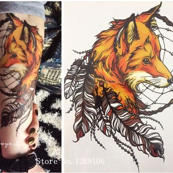 2016 21 X 15 CM Yellow Fox and Feather Cool Beauty Tattoo Waterproof Hot Temporary Tattoo Stickers#144