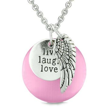 Guardian Angel Wing Live Laugh Love Inspirational Amulet Pink Simulated Cats Eye Necklace