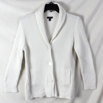 Talbots Cardigan Sweater M Petite MP size White Ribbed Cotton Cardigan
