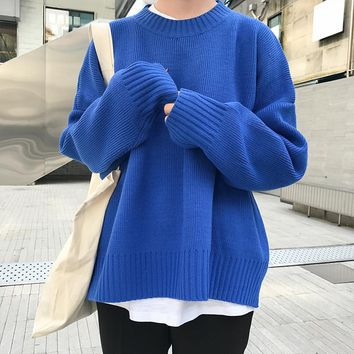 2018 New Vintage Solid Simple College Wind All Match Loose Casual Long Sleeve Female Sweaters