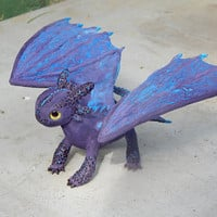 Toothless Night Fury, toothless dragon sculpture figurine handmade of clay, how to train your dragon, purple dragon figure toothlees httyd2