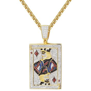 Sterling Silver King of Diamonds Playing Cards Pendant Chain