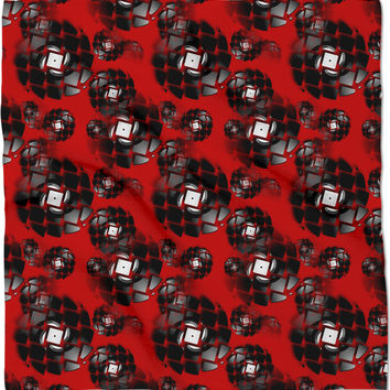 Broken, rotating vinyl discs pattern, black and red colors bandana, vector wheels