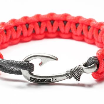 New Slim Cobra Braid Fish Hook Bracelet (Neon Orange & Gray)