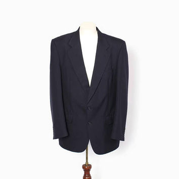 Vintage 80s Burberrys Blazer / 1980s Men's Navy Blue Classic Wool Suit Jacket M 42