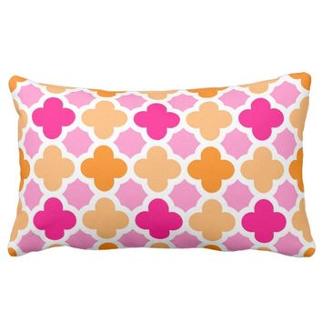 Moroccan Peach And Raspberry Hues Lumbar Pillow