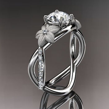 14kt  white gold diamond leaf and vine birthstone ring ADLR90 white Topaz - April's birthstone. nature inspired jewelry