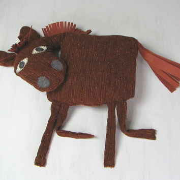 Horse Pillow Kids Room Decor Country House Summer Whimsical Brown Animal Sweet Soft Toy Funny Plush