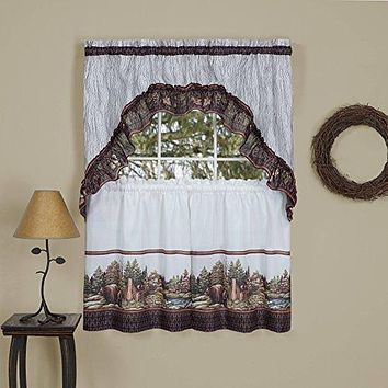 Into the Woods Kitchen Curtain Tier and Swag Set (57 inch  x 36 inch )