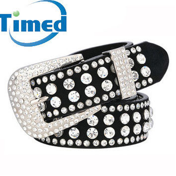 37 inch 2 Colors Rhinestone Studded Leather Belts Cummerbunds With Pin Buckle For Women