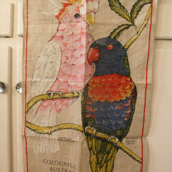 Vintage Linen Wall Hanging Towel 100% Linen. Exotic Birds