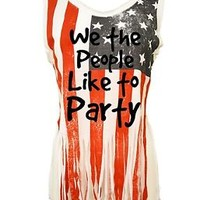 Women's Shredded Muscle Us Flag Tank Top We The People Like To Party 4th of July