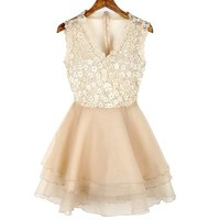 Women's Lace Mesh Transparent Back V-neck Sleeveless Tiered Short Party Dress (Apricot)