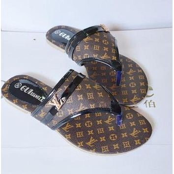 LV Louis Vuitton Trending Women Flat Shoes Summer Beach Roman Toe Sandals Slippers Shoe Brown