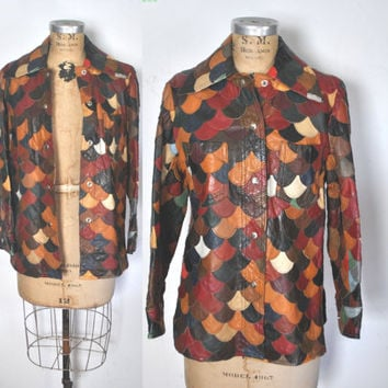 1970s Scalloped Leather Jacket / S-M