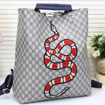 DCCKOB6D Gucci Women Leather Snake Pattern Shoulder Bag Daypack Backpack