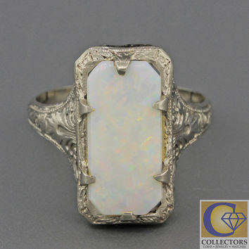1930s Antique Art Deco 14k Solid White Gold Rectangular Light White Opal Ring