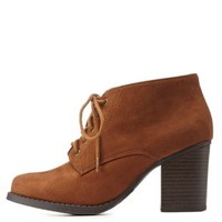 Chestnut Low Profile Lace-Up Block Heel Booties by Charlotte Russe