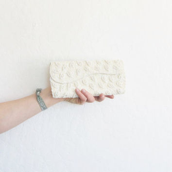 mod scalloped beaded bridal clutch . slim sequin wedding purse