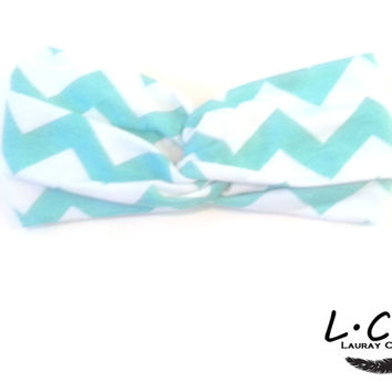 Soft Aqua Chevron Turban Style Headband Turban Knot Hair Band Jersey Head Band Jersey Turban Tie Head Wrap Womens Accessories