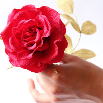 big paper rose 3 pcs, wedding flowers, crepe paper flowers, big ivory rose, big red rose, paper ivory rose, paper red rose, cream big rose