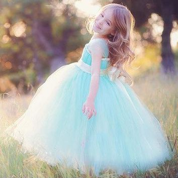 Girls Blue Long Tutus Dress