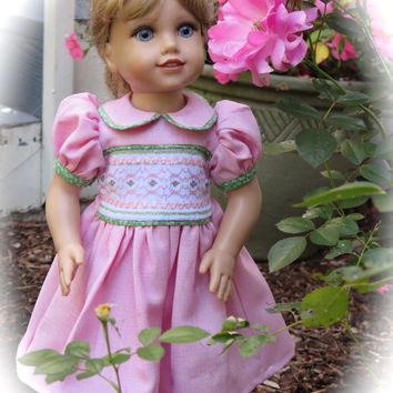 American Girl Doll Heirloom Smocked Spring Dress - Pink and Green