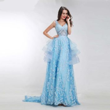 Light Blue Formal Celebrity Dresses V-neck Sexy Backless Illusion Tiered Floor Length Elegant Evening Gown