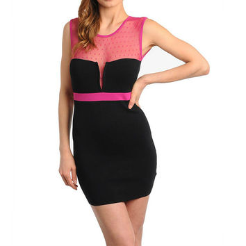 Unique Mesh Bandage Dress in Fuchsia & Black