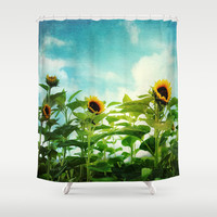 sunflower field Shower Curtain by Sylvia Cook Photography