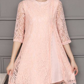 Lace Embroidery Side Split Casual Dresses