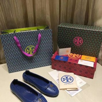 TB Tory Burch new cheap Women Leather Blue flat heels Boots Fashion Casual Shoes Best Quality