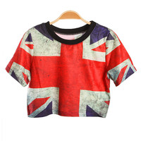 Sexy Belly British Flag Print Bare-midriff Crop Top Short Tee T shirt - PrettyGuide