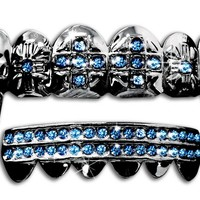 "Hip Hop Gun Metal ""Cross"" Fangs Teeth Grillz Set - Blue Stones"
