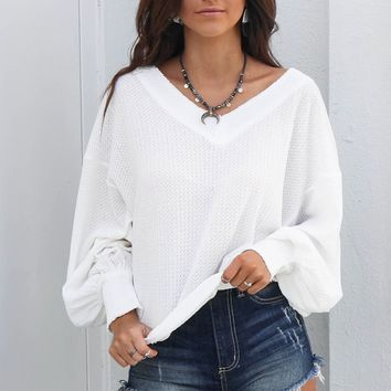 Fairy Tale White Waffle Knit Thermal Top