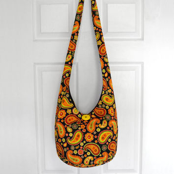 Cross Body Bag Hobo Bag Hippie Purse Sling Bag Boho Bag Slouch Bag Hobo Purse Hippie Bag Paisley Hobo Bag Floral Handmade Bag Bohemian Purse
