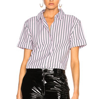 Equipment Paulette Top in Bright White & Orchid Smoke   FWRD