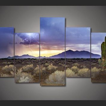 Desert Plane 5-Piece Wall Art Canvas