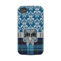 Blue U.S.A.F. tartan & damask monogram Iphone 4 Tough Cover from Zazzle.com