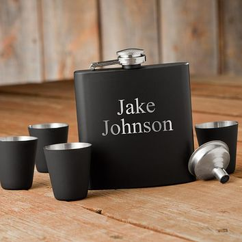 Personalized Matte Black Flask & Shot Glass Gift Box Set Free Engraving