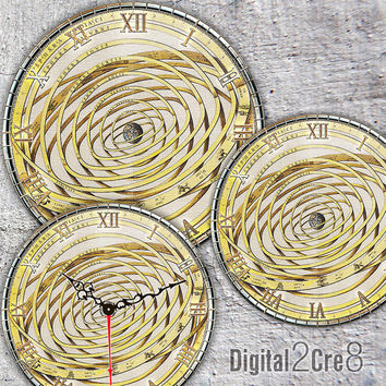 "Antique Globe Large Clock Face - 12"" and 8"" Digital Downloads - DIY - Printable Image - Iron On Transfer - Wall Decor - Crafts - jpg and pdf"