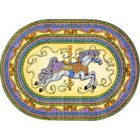 Joy Carpets 1473BB-01 Carousel© Oval: 3 Ft. 10 In. x 5 Ft. 4 In. Oval Rug Kid Essentials - Infants & Toddlers Rug - (In Oval)