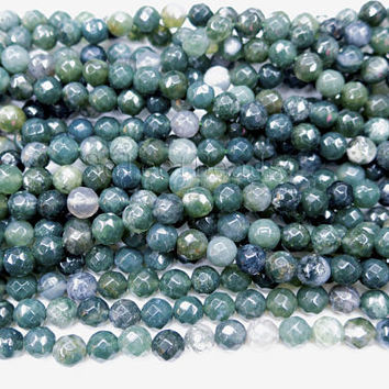 faceted moss agate round beads - semi precious gemstone beads - semi precious stones for jewelry - wholesale gemstone beads -15inch