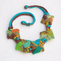 Colorful chunky necklace, knitted statement jewelry, OOAK wearable art
