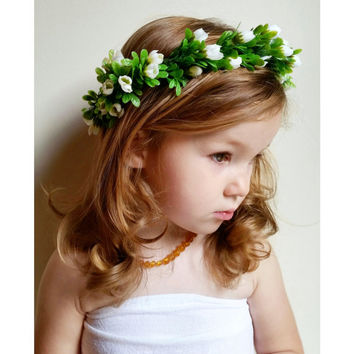 White Flower Crown * Handmade Flower Girl Headband * Laurel, Rose, Myrtle * Bridal, Bridesmaid * Lace, Floral, Greenery, Mixed