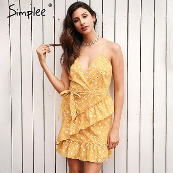 Simplee Sleeveless v neck ruffles summer dress women Backless sashes print mini dress Bohemian  fashion party dress robe femme