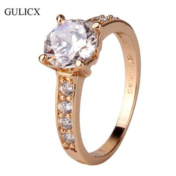 GULICX 2017 Vintage Mount Midi Ring for Women Gold-color Ring Round Big Crystal Zirconia Cubic Band Engagement Ring R125