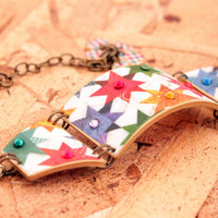 Quilt bracelet - Quilt jewelry - Hobby - Quilter bracelet - Quilter gift - Red - Blue - Green - Orange - Yellow - Cuff bracelet - Link